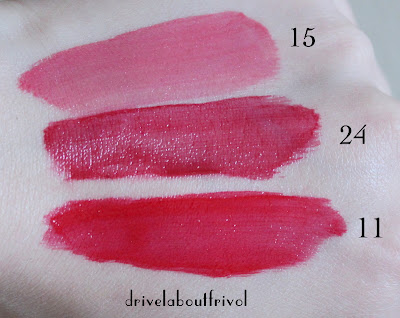 YSL Glossy Stain 15 25 11 mixing swatches