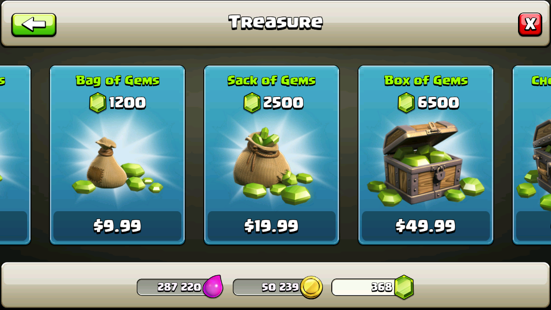 clash of clans green gems price