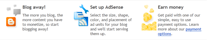 Blogger + Google AdSense, picture, image, photos, screenshot, web-shot,Free, simple way for Blogger users to earn money by displaying targeted Google ads on their blog, Set up AdSense, Blog away!, Earn money