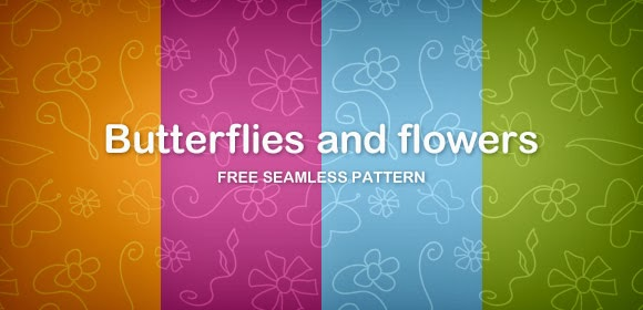 Butterflies and Flowers Pattern (Free PNG)