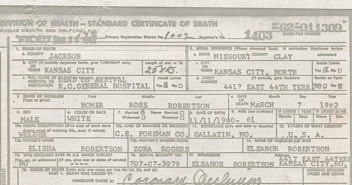 Remembering Who They Were: Homer\'s Death Certificate