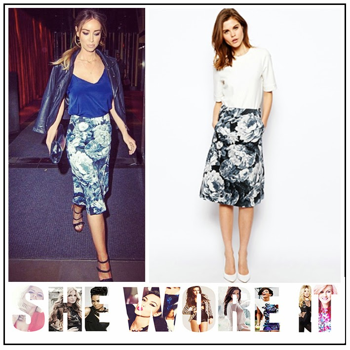 ASOS, Black, Floral Print, Grey, High Waisted, Lauren Pope, Midi Skirt, Pockets, Skirt, The Only Way Is Essex, TOWIE, White