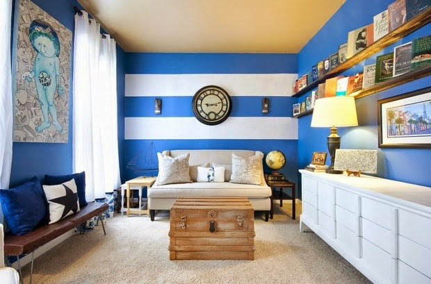 Striped Living Room Wall Painting Ideas Blue Theme