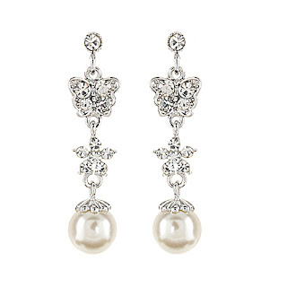 bridal earrings drop pearls