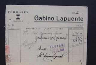 Factura de la Forrajes Gabino Lapuente del 6 de julio de 1962.
