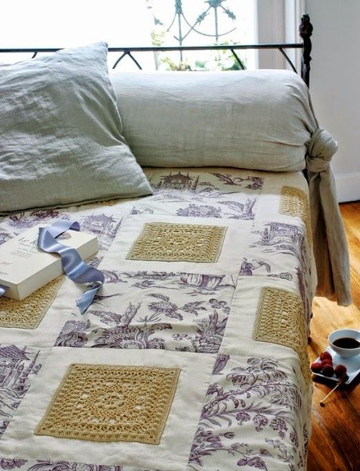 Cubrecama realizado con grannys cuadrados grandes tejidos al crochet - con diagramas y patrones