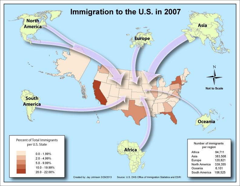 immigration flow line map