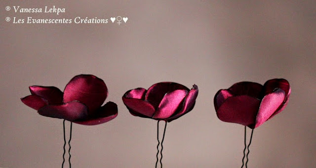 petits pics à chignon pour mariée de couleur bordeaux prune, style mariée romantique et glamour