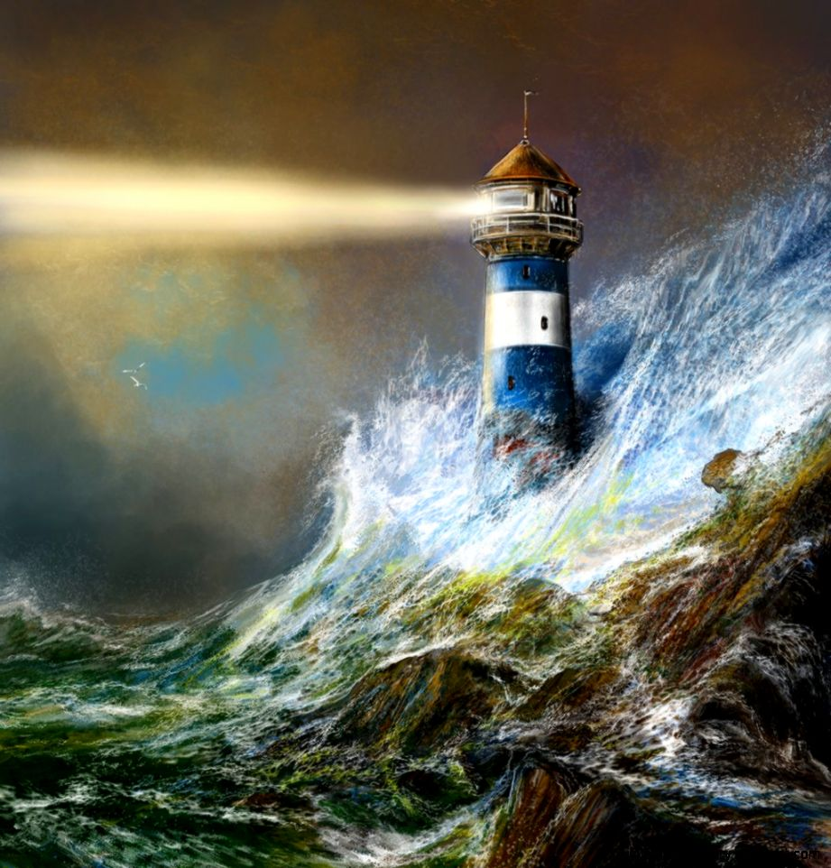 Art Lighthouses on Pinterest  Lighthouse Painting Thomas Kinkade