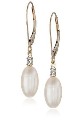 10k Yellow Gold Freshwater Cultured Pearl (10.5-11 mm) with Diamond Accent Drop Earrings