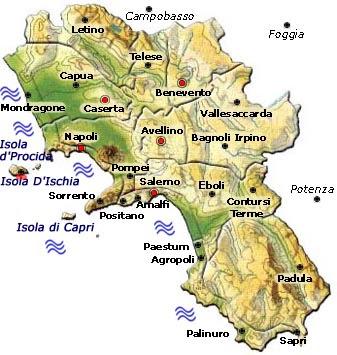 Campania Map Geographic Region