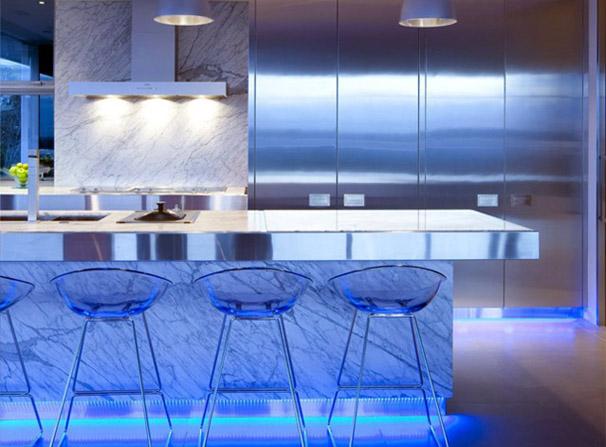 Modern Kitchen Blue Lighting Fixtures Design