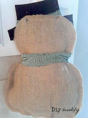Burlap snowman door hanging | DIY beautify