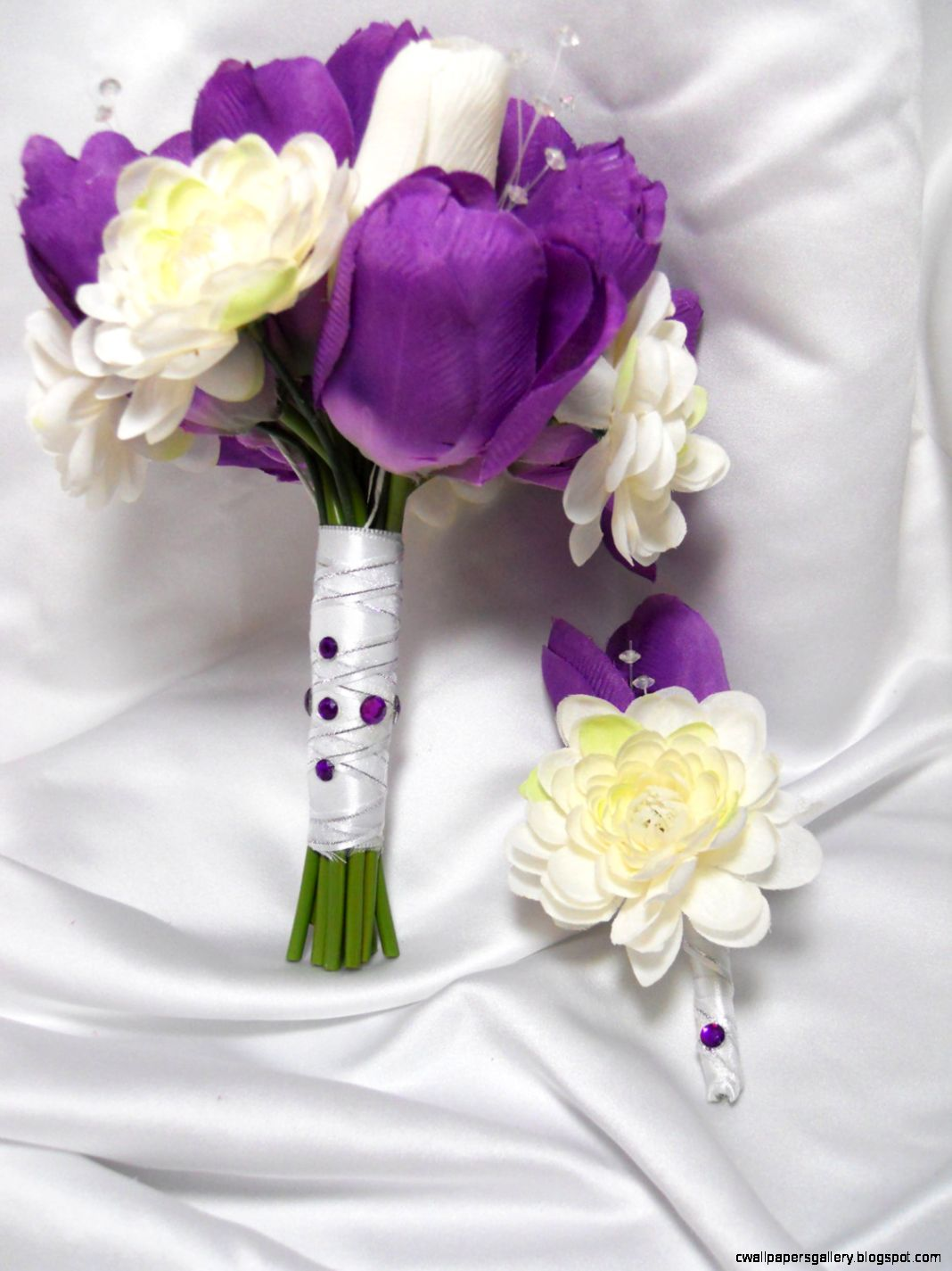 Wedding Bouquet Purple And White Tulips by PieceByPeaceArtwork
