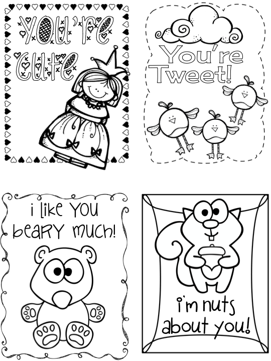 Kearsons Classroom Valentines Day Cards – Valentines Cards to Color