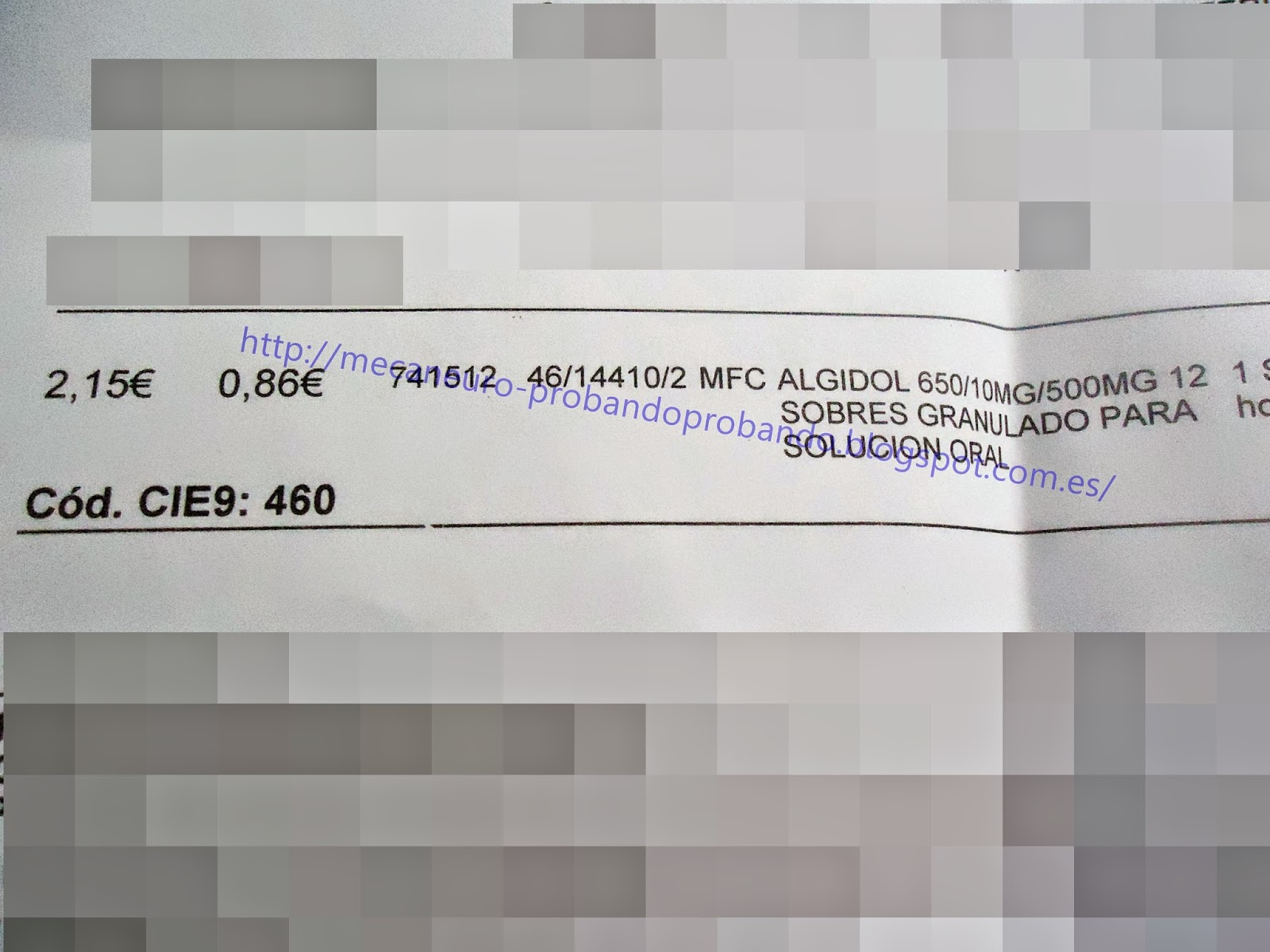 Algidol 650mg Granulado para solución oral receta