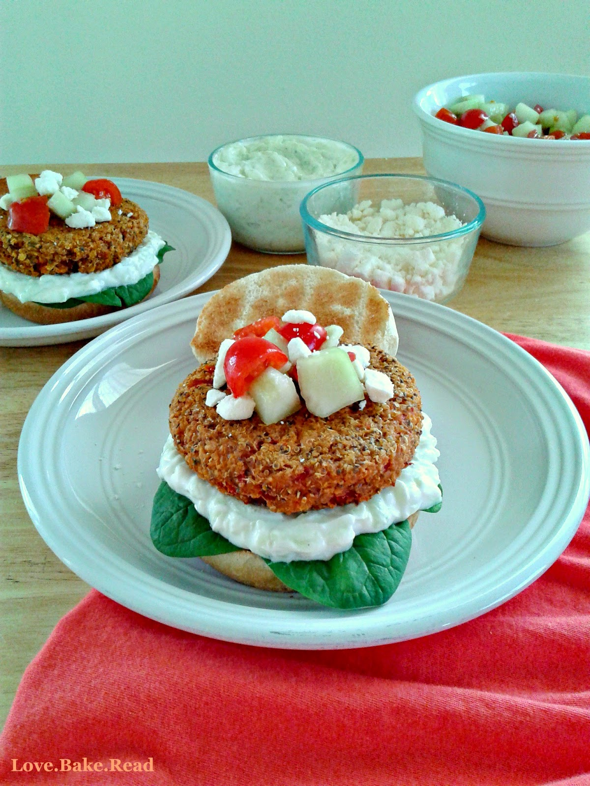 Roasted Red Pepper Chickpea Burgers     Love.Bake.Read