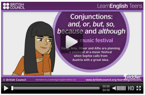 http://learnenglishteens.britishcouncil.org/grammar-vocabulary/grammar-videos/conjunctions-and-or-so-because-and-although
