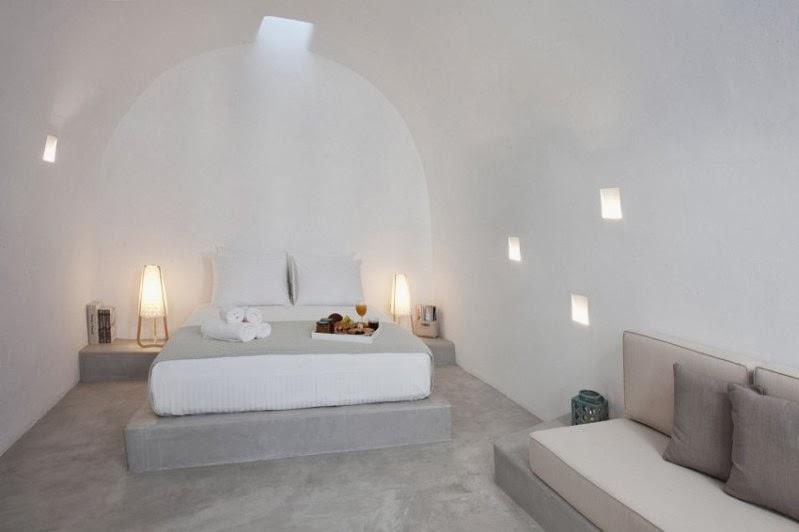casa en santorini con estructuras de microcemento