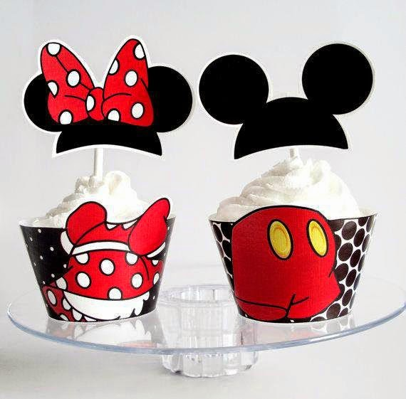So Precious Mickey and Minnie: Free Printable Cupcake Wrappers and Toppers.