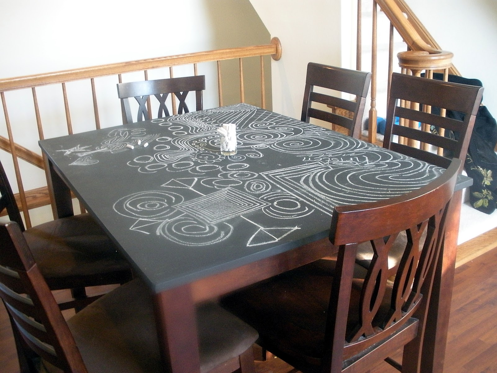 chalkboard table top. Black Bedroom Furniture Sets. Home Design Ideas