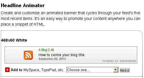 feedburner headlines animator