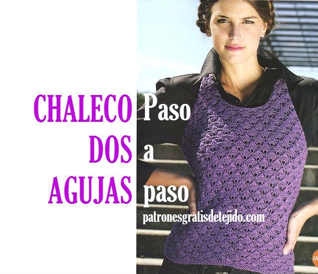 Patrones en español de chaleco tejido con dos agujas
