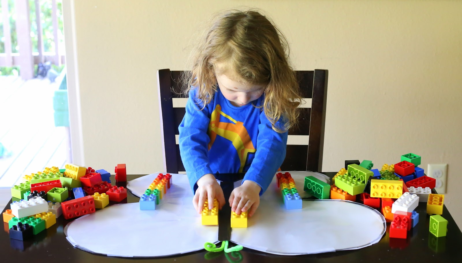 A fun and simple lesson on symmetry using LEGOs and a sticky-winged butterfly from Fun at Home with Kids