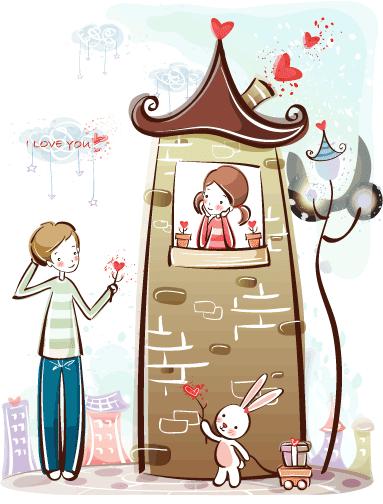 Estampas de San Valentín torre - Vector