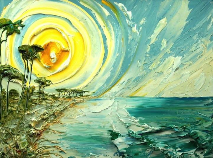 A bela pintura em forma de textura por Justin Gaffrey