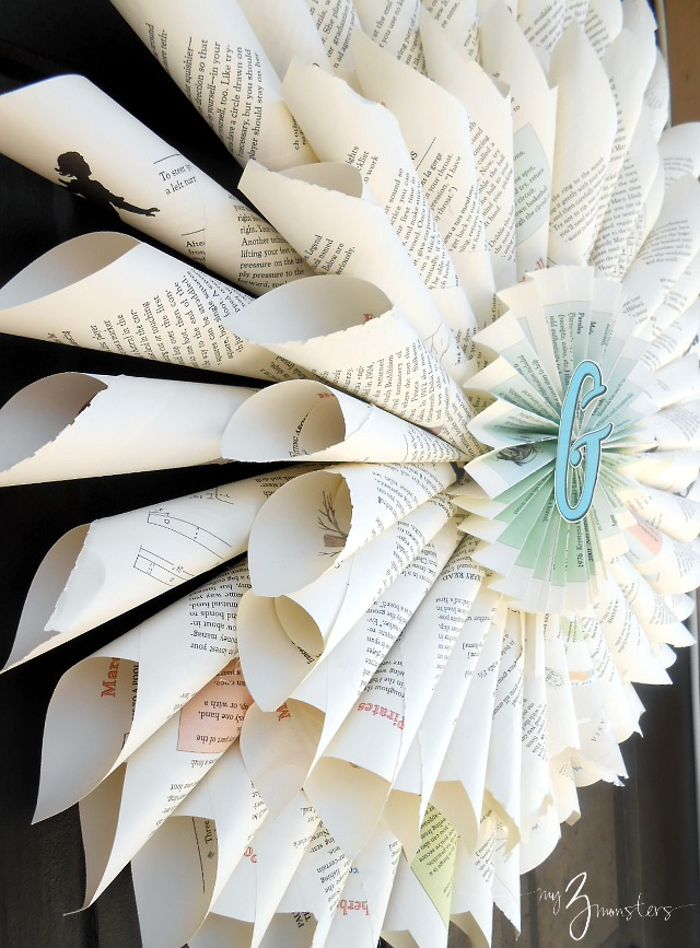 Easy & Inexpensive Book Page Wreath at my3monsters.com