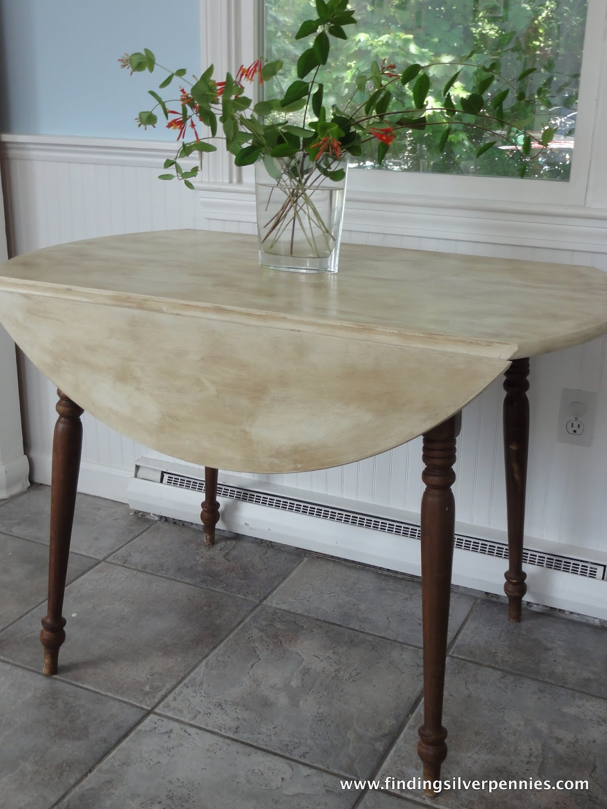 Lovely Old White Table With Rustic Finish