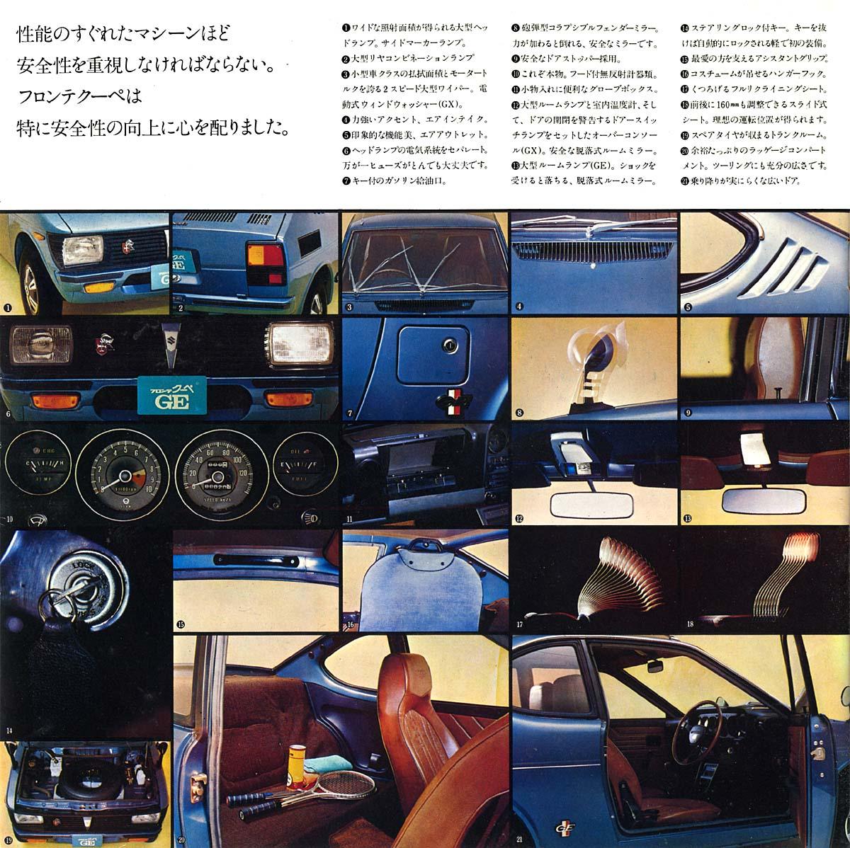 broszury z samochodami, japońska motoryzacja, suzuki fronte coupe, małe usportowione samochody, klasa kei car, opis, informacje