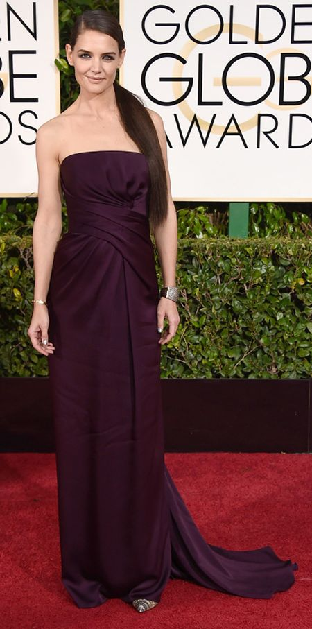 Katie Holmes in a Marchesa dress at the Golden Globes 2015