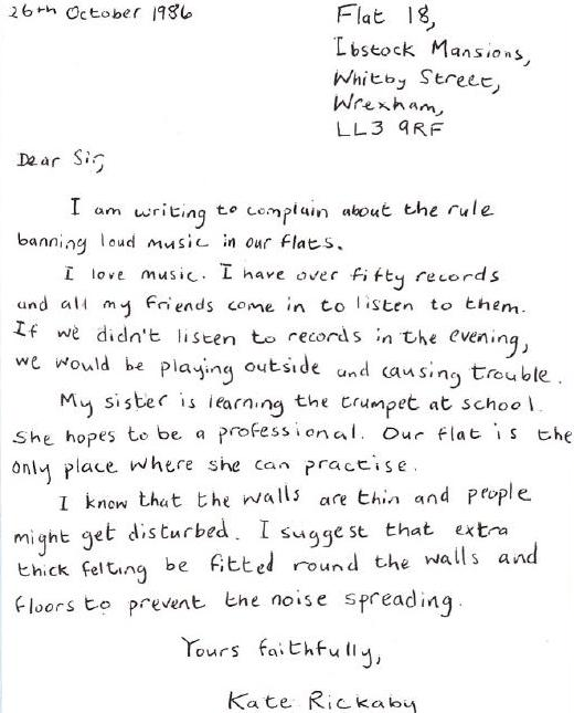 above is letter 2 it is from kate rickman to the manager of the apartment block where she lives it is a formal letter