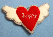 Happy spring, happy Easter, happy heart! This is a wool felt heart badge.