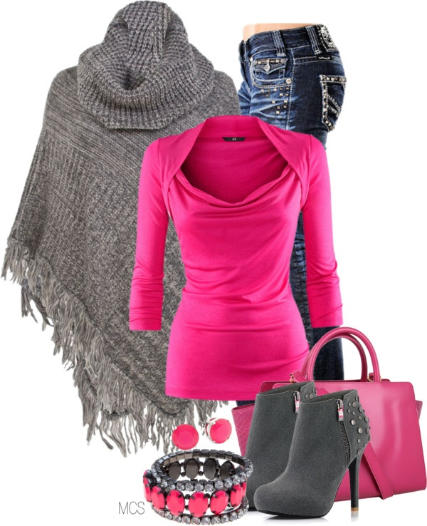 Beautiful fall combination of grey sweater, pink full sleeve shirt, jeans, high heel boots and hand bag