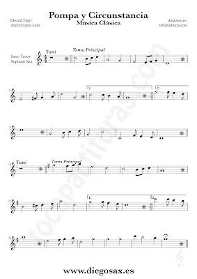 Tubepartitura Pompa y Circunstancia de Edward Elgar partitura de Saxofón Tenor y Soprano canción de Música Clásica