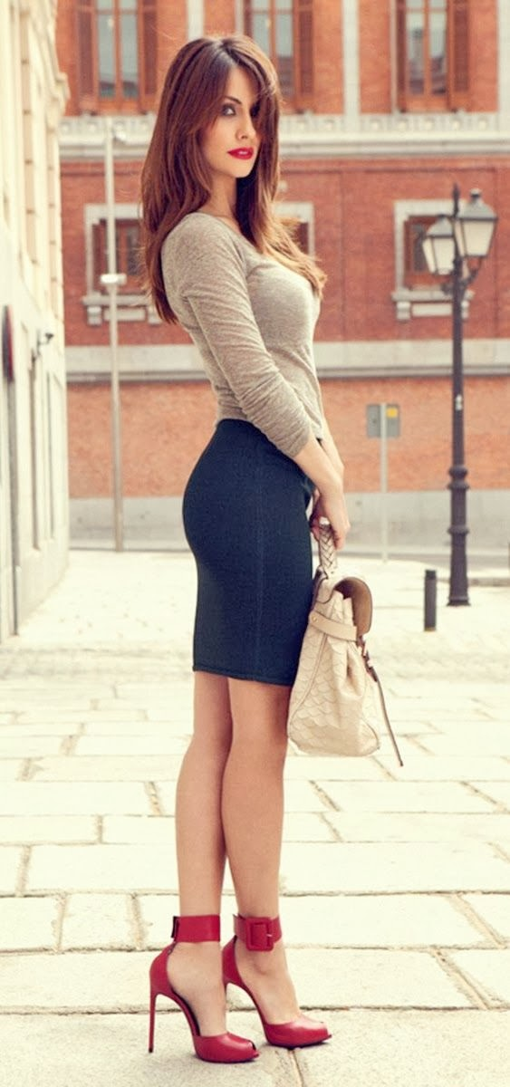 Grey Color Long Sleeve Shirt With Black Skirt And Red Heel