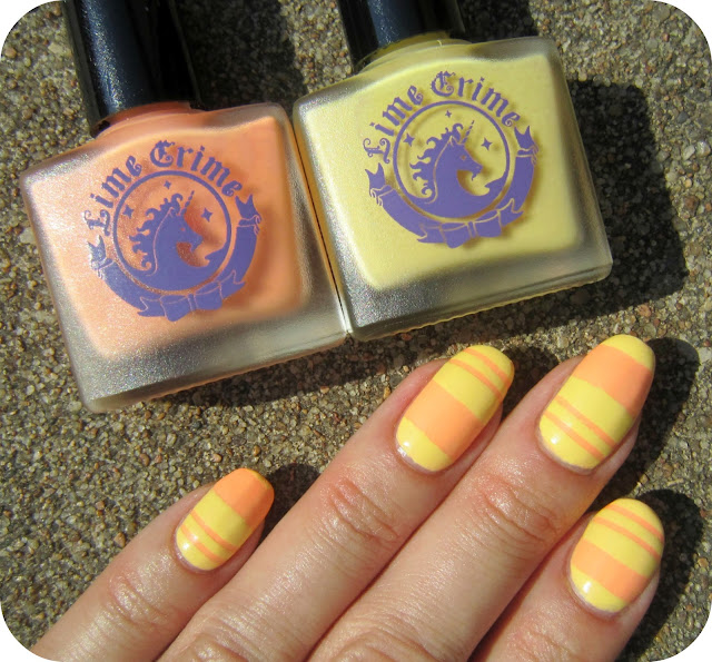 Concrete And Nail Polish Striped Nail Art: Concrete And Nail Polish: Lime Crime Peaches Cream