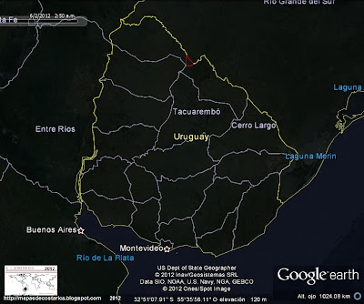 Mapa de URUGUAY, mapa politico de Uruguay, (Google Earth, vista nocturna)