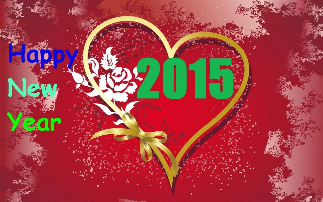 Happy New Year 2015 Greetings Wishes Heart Shape Wallpaper