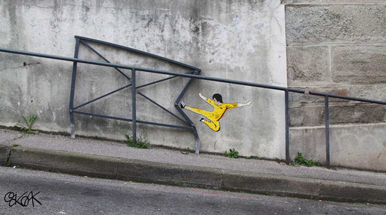 Arte urbano que participa con su entorno por OakOak