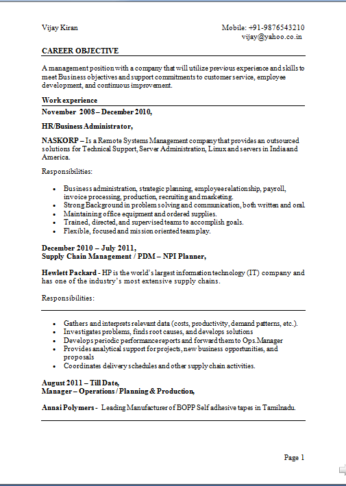 resume objective or profile