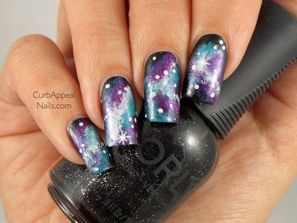 Galaxy Nails with No7 In The Stars and Orly Goth