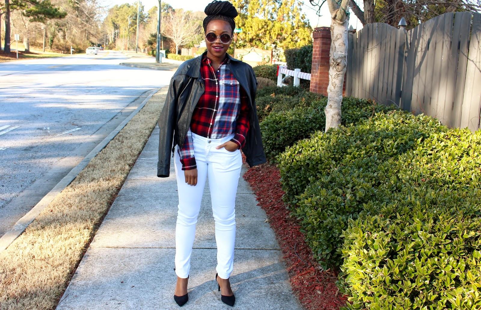 Ashley Udoh Plaid Shirt White Pants