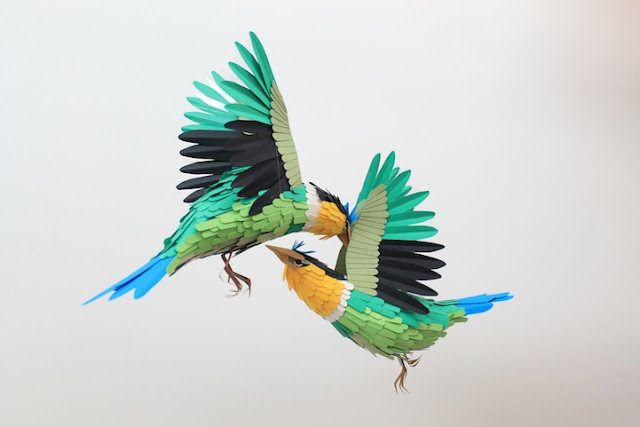 3d colourful paper birds sculptures by Diana Beltran Herera