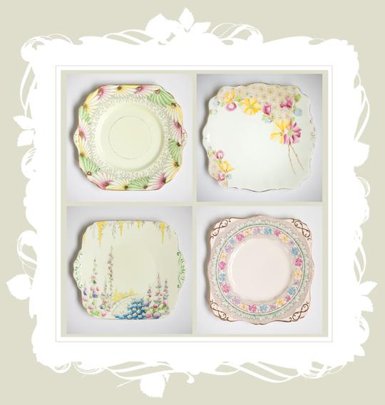 four vintage dinner plates