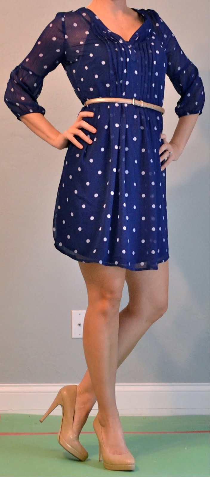 Outfit Posts Outfit Post Polka Dotted Dress Gold Belt