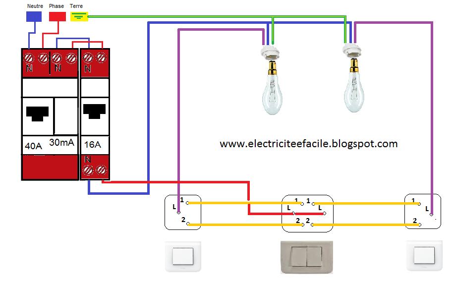 Schema de cablage du double allumage va et vient schema - Branchement va et vient 3 interrupteurs ...